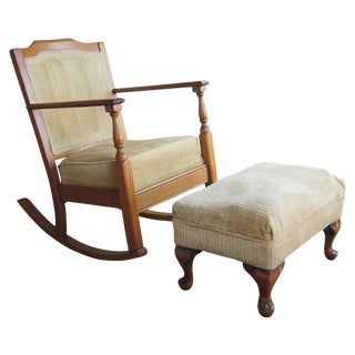 Antique Oak Rocking Chair & Ottoman-a Pair For Sale