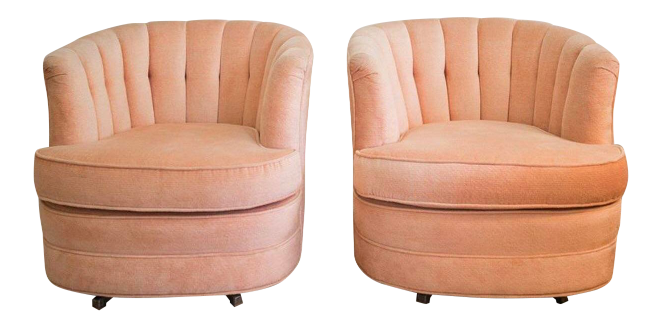Pink Velvet Clamshell Swivel Chairs   A Pair For Sale