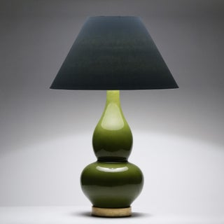Casa Cosima Double Gourd Table Lamp, Olive Craquelure/Blue Stream Shade Preview