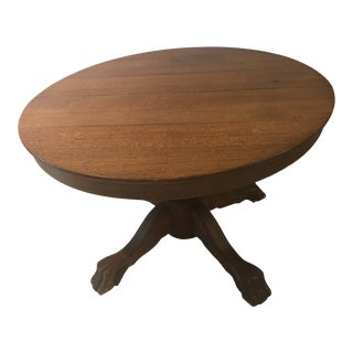 19th Century Gothic Round Wood Lions Foot Dining Table For Sale