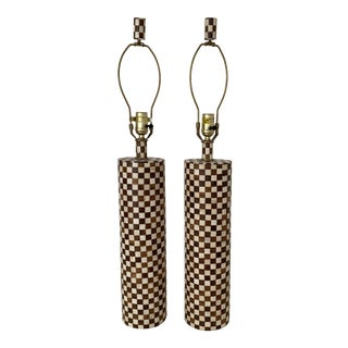 Late 20th Century Checkered Wood and Bone Inlay Table Lamps - A Pair For Sale
