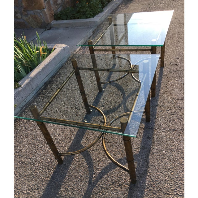 Hollywood Regency Vintage Faux Bamboo Gold Metal & Glass Side Tables - a Pair For Sale - Image 3 of 12
