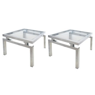 Pair of French Chrome and Glass End Tables in the Manner of Guy Lefevre For Sale