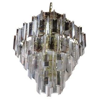 Mid-Century Lucite & Glass Pendant Chandelier For Sale