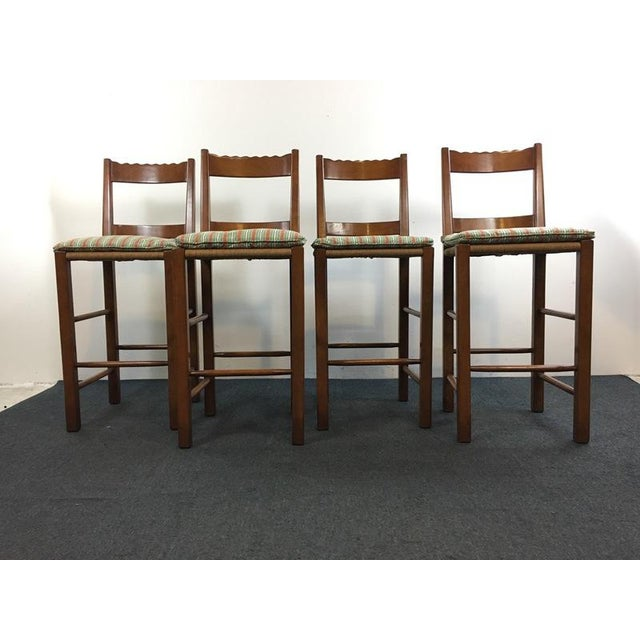 Carved Wood Rush Seat Bar Stools - Set of 4 - Image 3 of 5