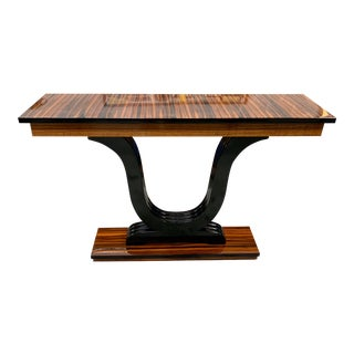 1940s French Art Deco Exotic Macassar Ebony Console Table For Sale