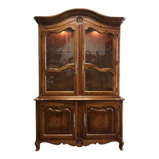 ETHAN ALLEN French Country Louis XV Style Fruitwood China Cabinet