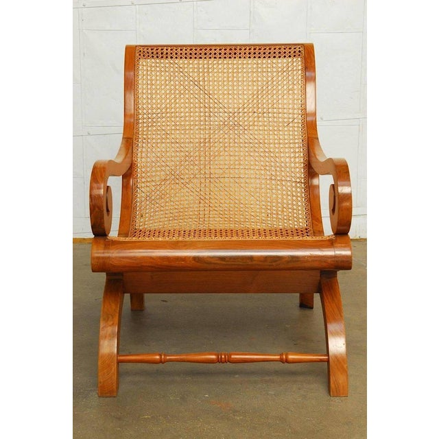 Anglo-Indian Teak and Cane Plantation Chair For Sale - Image 4 of 13