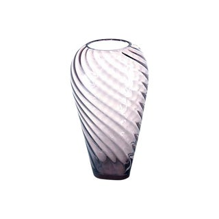 Amethyst Swirl Blown Glass Vase For Sale