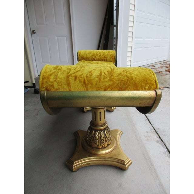Hollywood Regency Yellow Mohair Gilt Wood Window Bench With Gondola Style Upturned Arms For Sale - Image 3 of 13