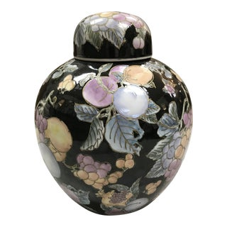 Vintage Chinese Black With Multi Fruit Designs Urn With Lid For Sale