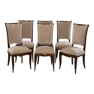 Set of 6 Mid-Century Italian Polished Walnut Dining Chairs For Sale