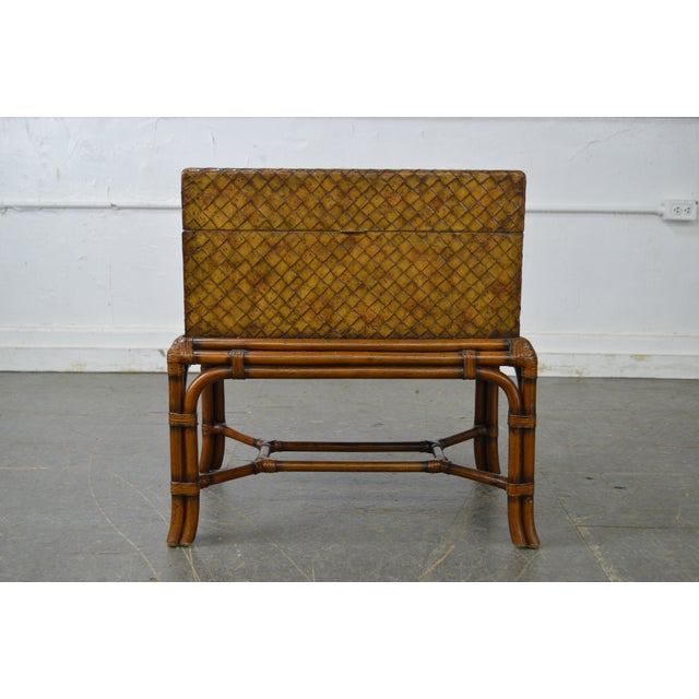 *STORE ITEM #: 16462-fwmr Maitland Smith Woven Leather Lidded Chest on Rattan Base AGE / ORIGIN: Approx. 18 years,...