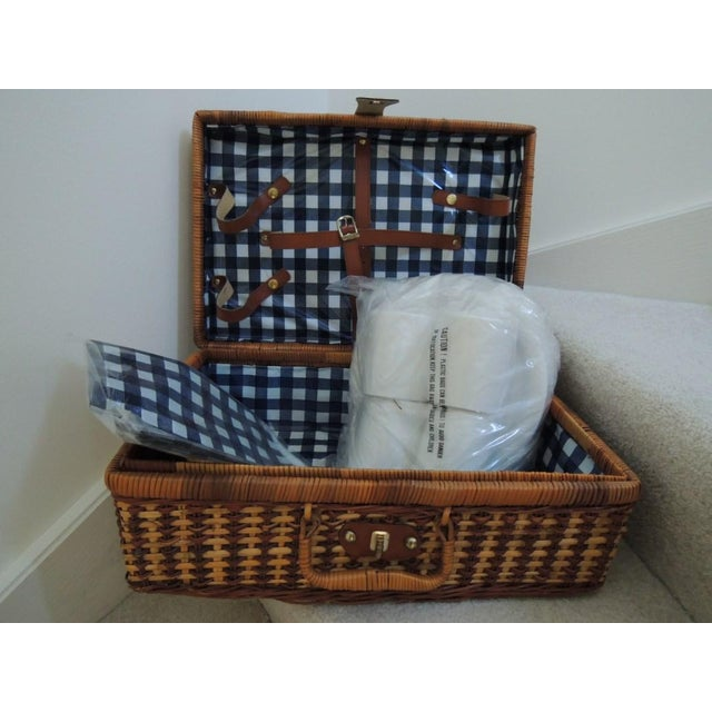 Vintage Picnic Basket & Tableware - Service for 4 For Sale - Image 13 of 13