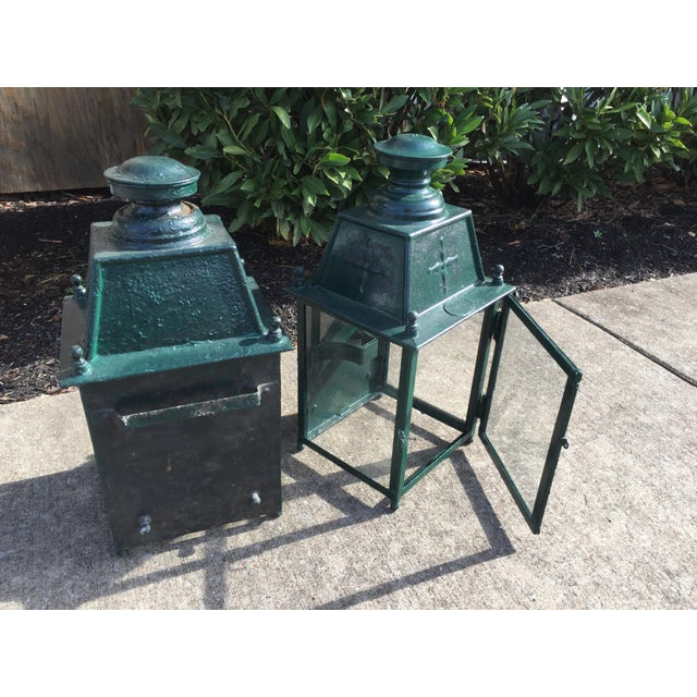 Metal French Green Metal Exterior Wall Lantern, C.1900 - a Pair For Sale - Image 7 of 10