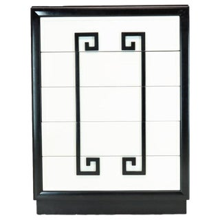 Kittinger Mandarin Style Chest Dresser Black and White Lacquer Five Drawers For Sale