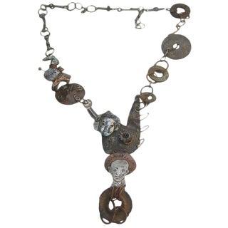 Avant Garde Brutalist Mixed Metal Artisan Necklace C 1970s For Sale