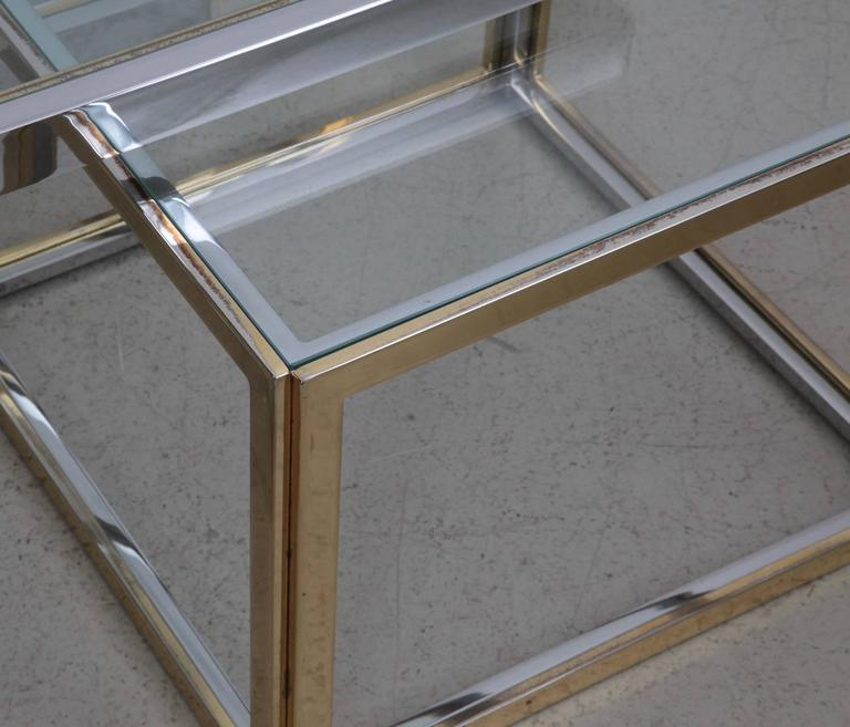 Huge Coffee Table In Brass And Chrome With Four Nesting Tables By Maison  Charles   Image