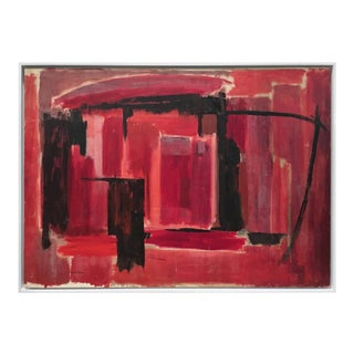 Mid-Century Abstract Painting in Black and Reds by Phillip Callahan For Sale