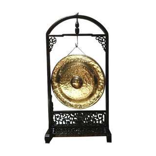 Asian Brass Gong With Carved Rosewood Frame
