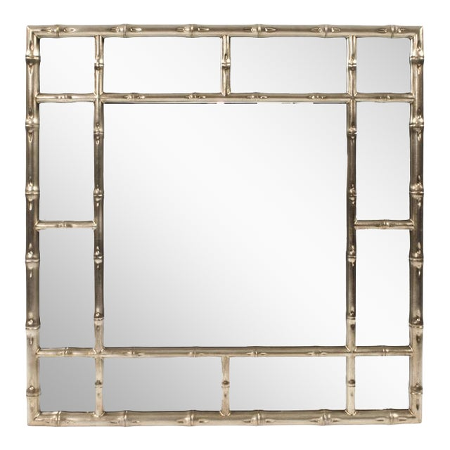 Kenneth Ludwig Silver Bamboo Mirror For Sale