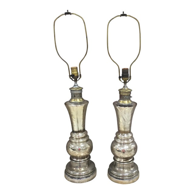 Mercury Glass Table Lamps - A Pair For Sale