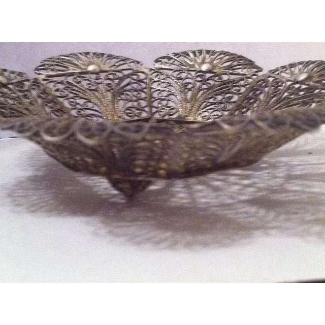 Traditional Lovely Doll's Silver Filigree Handled Basket For Sale - Image 3 of 9