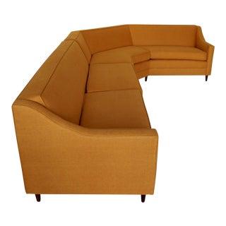 Mid-Century Modern Orange Tweed Two-Piece Sectional