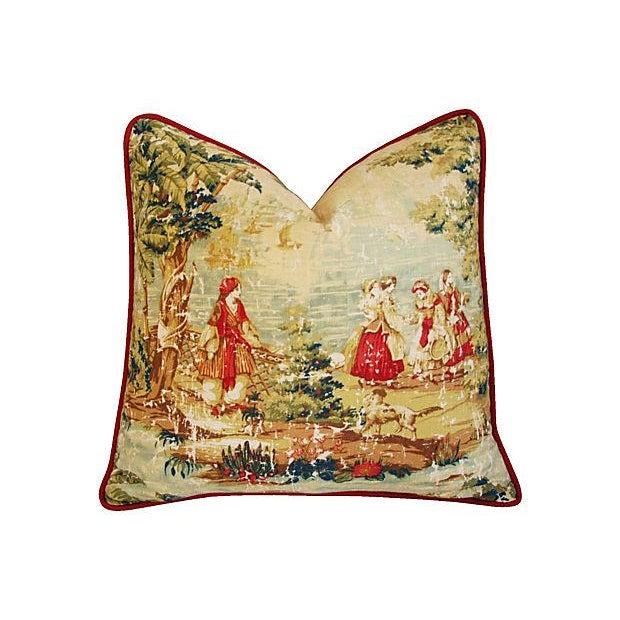 Designer Renaissance Toile Linen Pillows - A Pair - Image 3 of 8