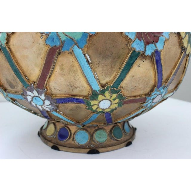 Antique 1920s Chinese Cloisonné Vase in Brass With Crossbanding and Floral Medallions For Sale - Image 10 of 13