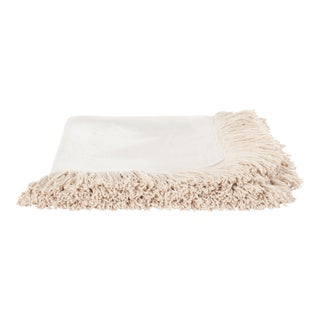Once Milano Line Bed Cover With Fringes in Cream For Sale
