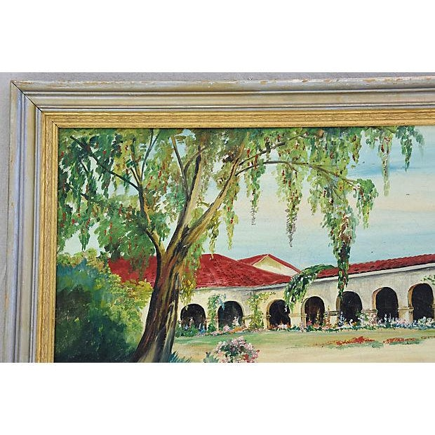 Green Mid-Century Framed San Juan Capistrano Mission Oil Painting by Georgiana Hehr For Sale - Image 8 of 10