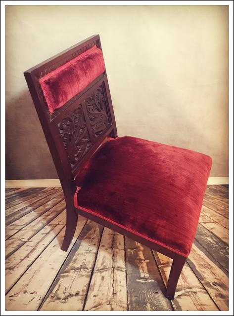 Antique Carved Walnut Red Velvet Chair   Image 5 Of 11