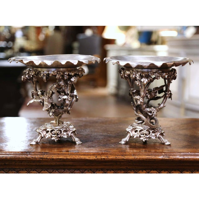 19th Century French Silvered Bronze Compotes Signed Christofle - a Pair For Sale - Image 10 of 10