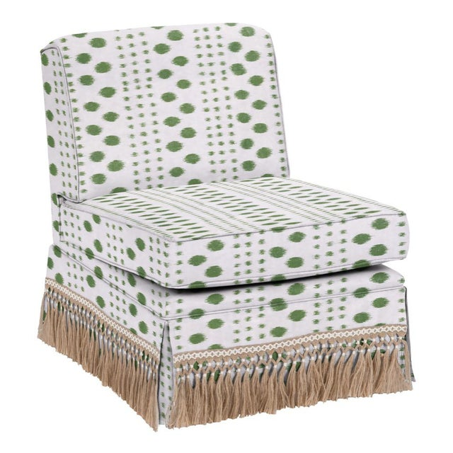 Not Yet Made - Made To Order Virginia Kraft for Casa Cosima Skirted Slipper Chair, Polkat, Forest For Sale - Image 5 of 5