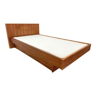 1970s Teakwood Twin Size Platform Bedframe For Sale