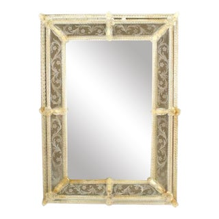 Italian Venetian Murano Fuga Etched Wall Mirror For Sale