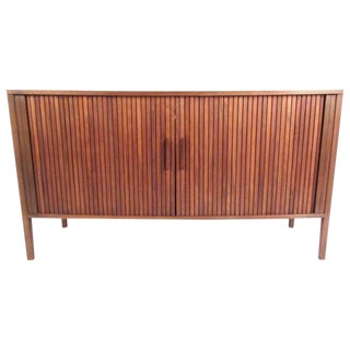 1960s Mid-Century Modern Tambour Credenza For Sale