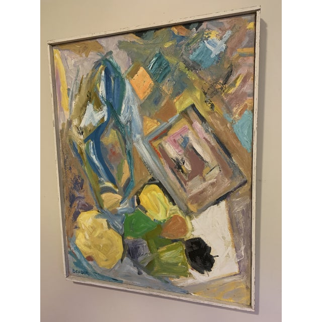 Mid 20th Century Mid Century Modern Abstract Art of a Female Original Oil on Canvas Signed Bender For Sale - Image 5 of 7