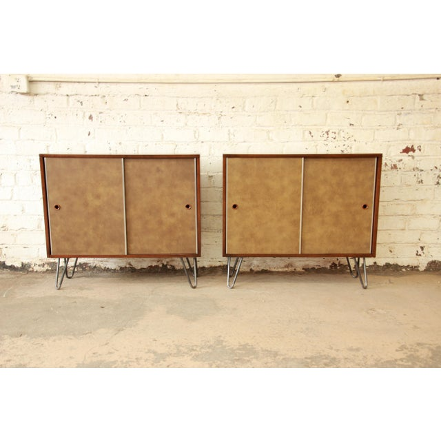 Paul McCobb for Calvin Small Cabinets on Hairpin Legs- a Pair - Image 2 of 9