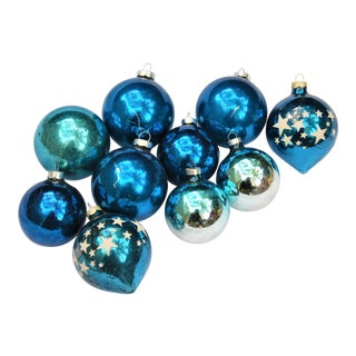 Vintage Blue Glass Ornaments - Set of 10
