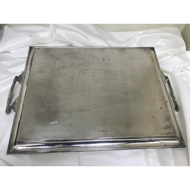 Pairpoint Silver Company Antique Silverplate Engraved Yosemite 1891 Large Handled Tray For Sale - Image 4 of 9