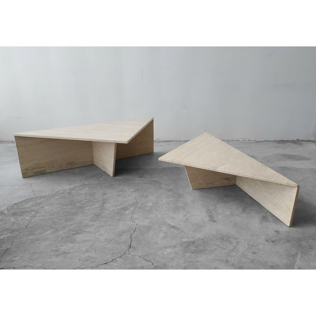 White 2 Piece Tiered Post-Modern Italian Travertine Coffee Table For Sale - Image 8 of 8