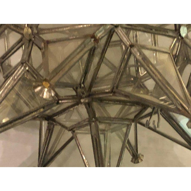 Metal Pair of Sputnik Star Light Fixtures Lead Glass Art Deco Style Not Wired For Sale - Image 7 of 13