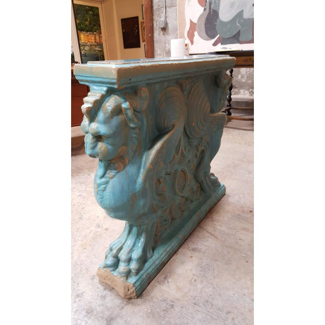 Winged Lion Pedestal by Gladding McBean Pottery For Sale - Image 5 of 6