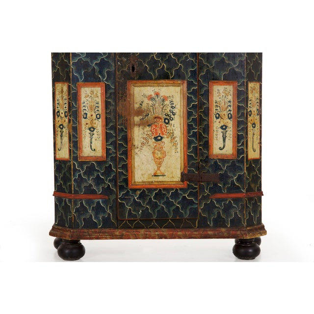 Blue 19th Century Antique Painted Armoire Cabinet Circa Late 19th Century For Sale - Image 8 of 13