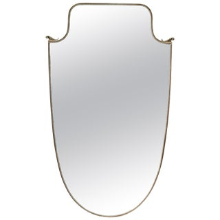 Large Italian Brass Shield Form Mirror For Sale