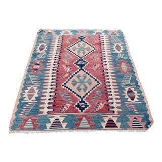 Contemporary Oushak Kilim Rug - 3′2″ × 3′5″ For Sale