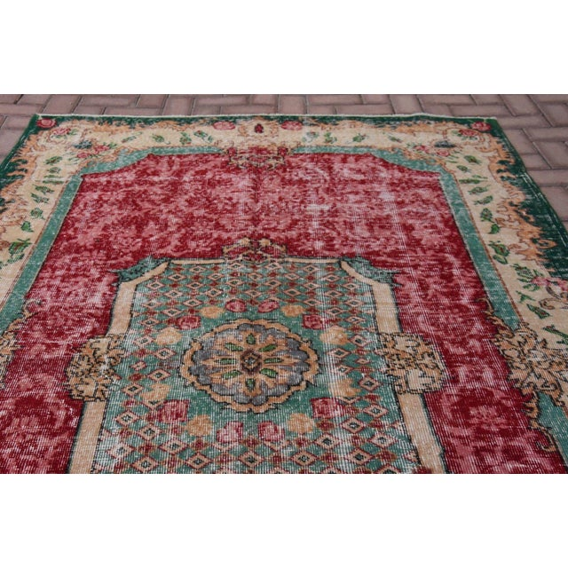 Distressed Turkish Handmade Area Rug - 5′2″ × 8′3″ - Image 4 of 6