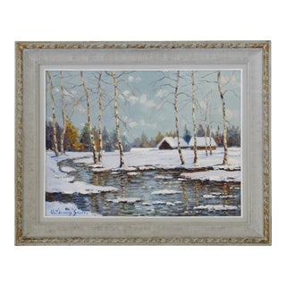 Voldemars Skulte (1907-1997) Snowy Winter River Landscape & Cabin Painting For Sale